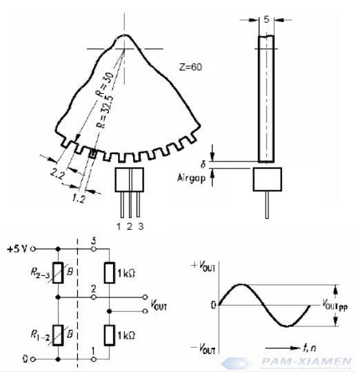 sensor de resistência magnética diferencial medindo a velocidade da engrenagem